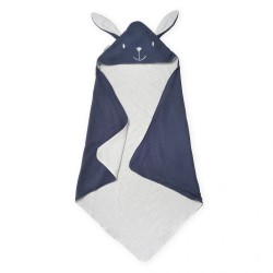 Blue Tetra Cotton Cat Hooded Baby Blanket